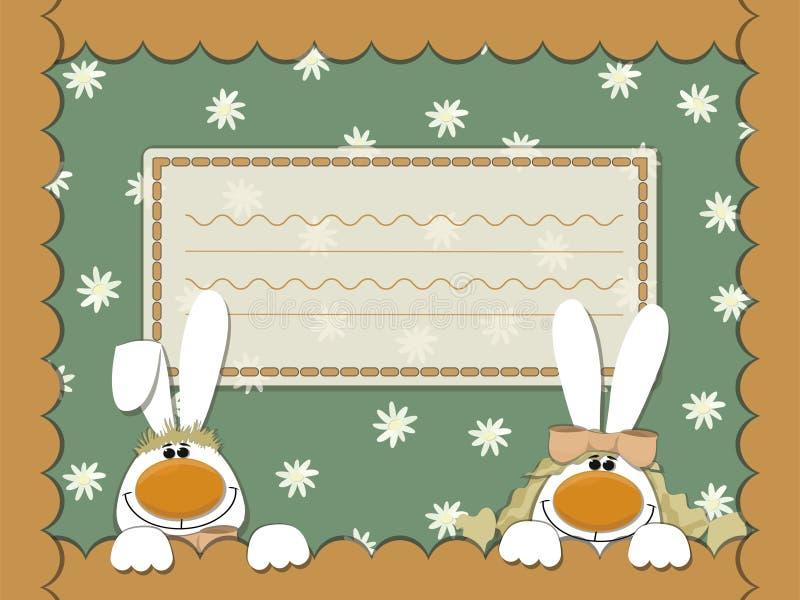 卡片用兔子和春黄菊 皇族释放例证