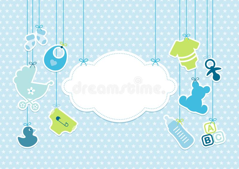 卡片男婴垂悬的象云彩特征模式蓝色 向量例证