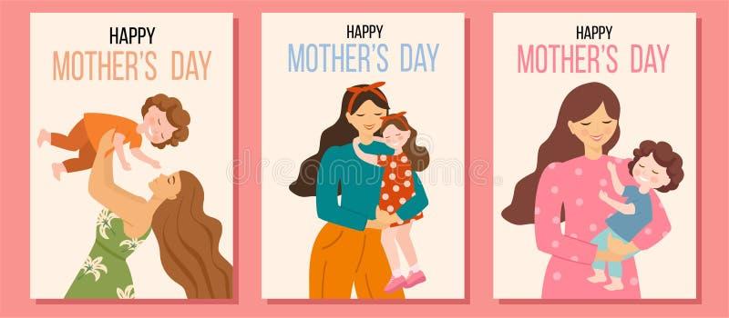 卡片的汇集为愉快的母亲节 与妇女和他们的孩子的传染媒介例证 美好的模板 r 皇族释放例证