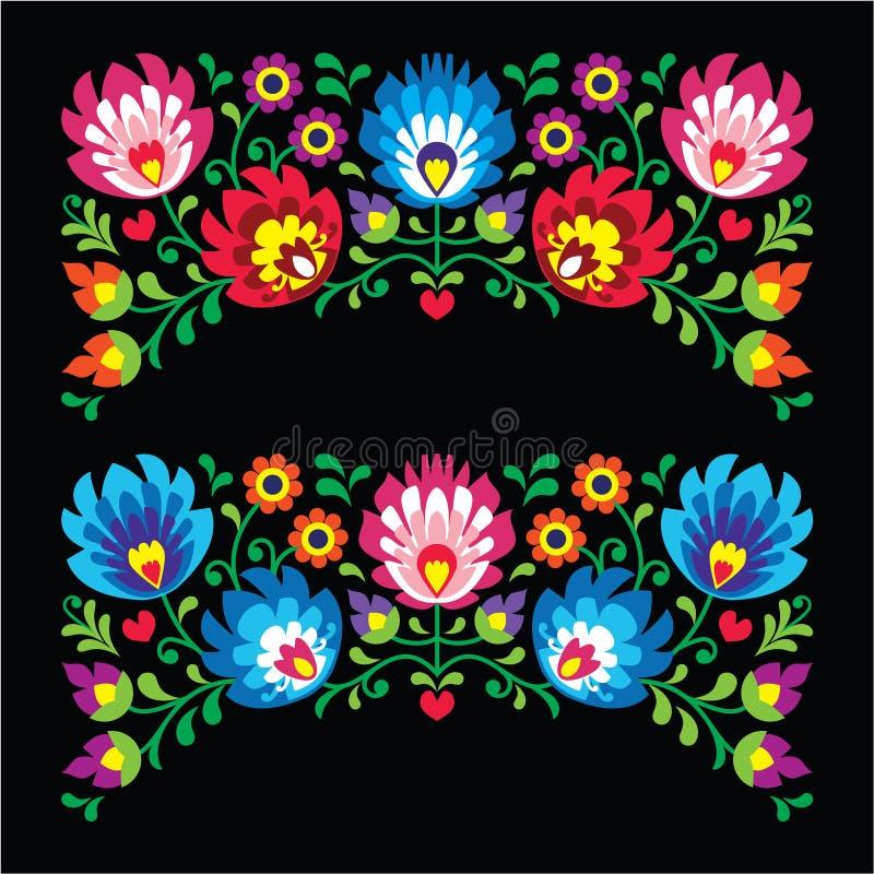 卡片的波兰花卉民间刺绣样式在黑的Wzory Lowickie 皇族释放例证