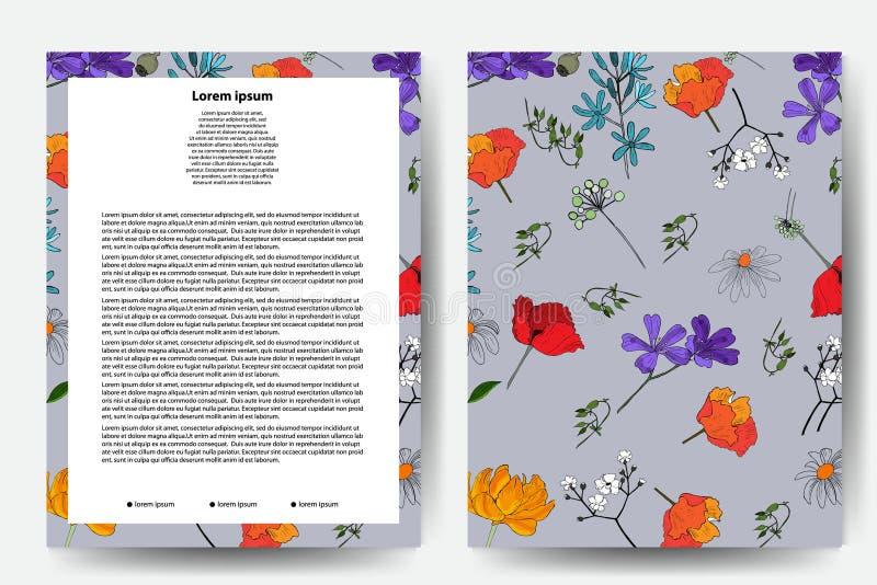 卡片的,小册子, fluers花卉样式设计 集合-传染媒介股票 库存例证