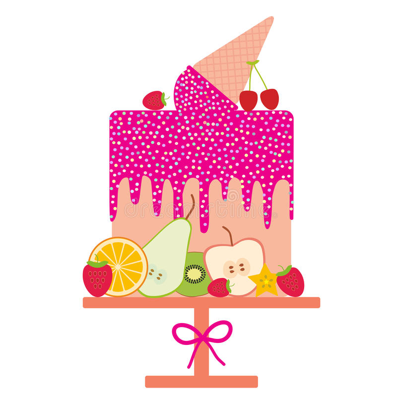 卡片设计-生日,华伦泰` s天,婚礼,订婚 甜蛋糕,桃红色冰淇凌奶蛋烘饼锥体,桃红色结冰洒,果子 向量例证
