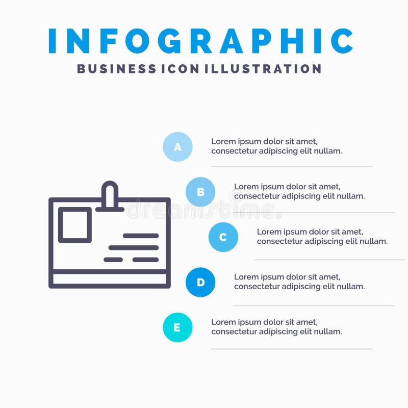 卡片,身份证,身分,通行证线象有5步介绍infographics背景 库存例证