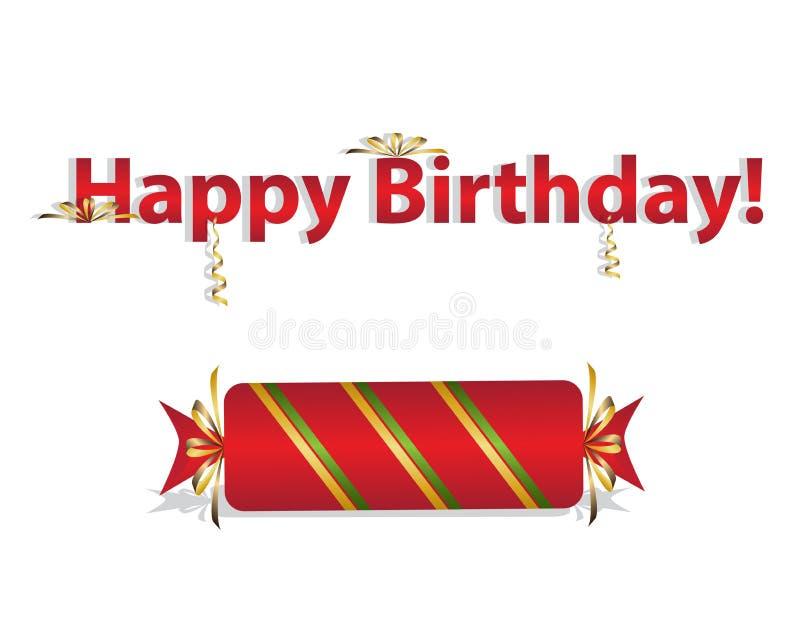 卡片,邀请设计  生日快乐!明亮,红色, 库存例证