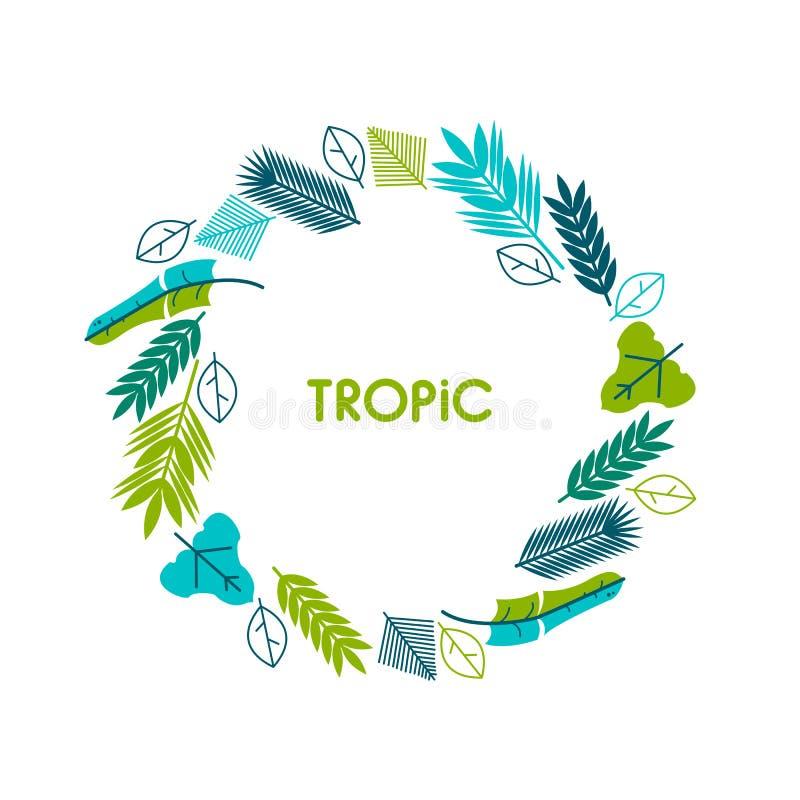 卡片,邀请,与热带叶子的横幅 花圈,圈子 与热带植物的框架 向量例证