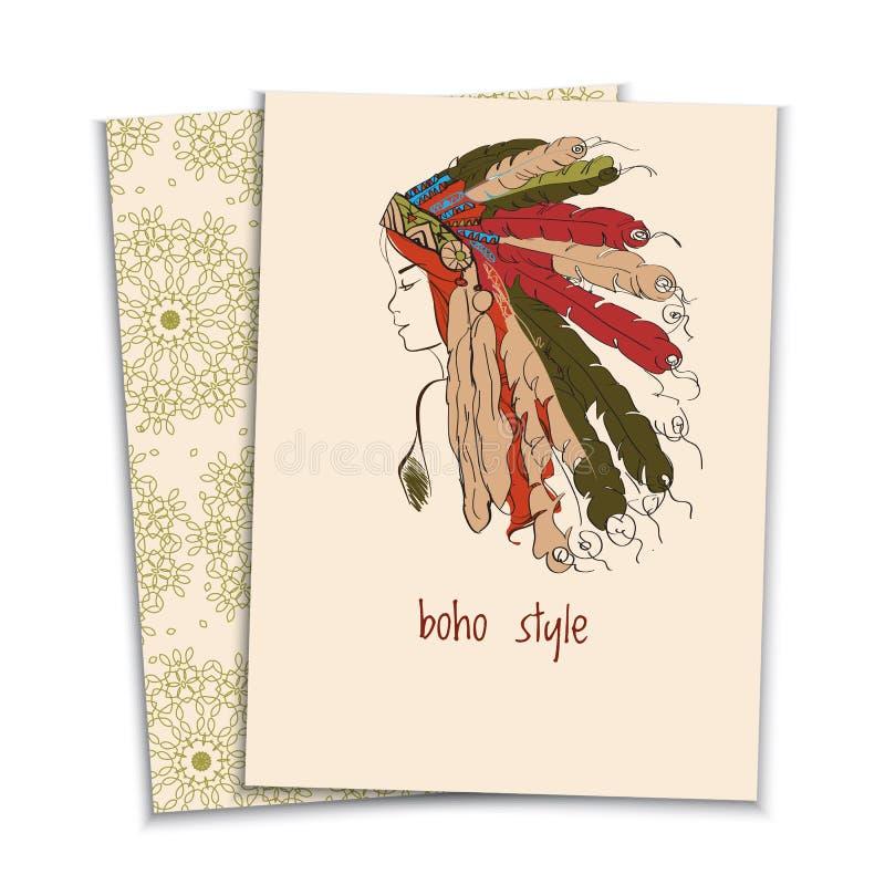 卡片,头饰印地安人的女孩 库存例证
