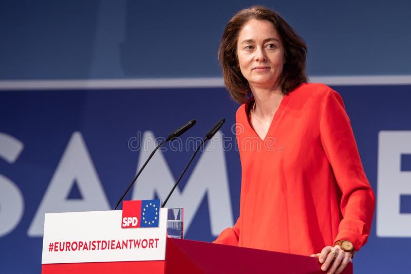 卡特琳娜大麦讲话SPD党天在柏林 免版税库存照片