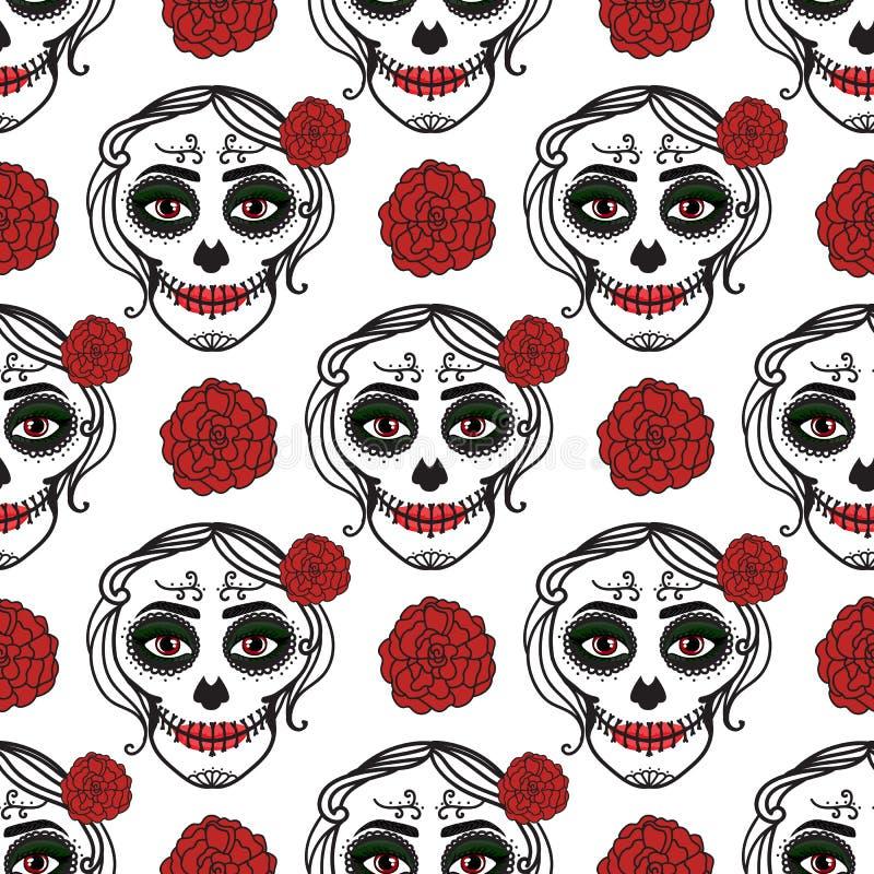 卡特里纳妇女与组成糖头骨 无缝的模式 de dia los muertos 死者的墨西哥天 向量 皇族释放例证