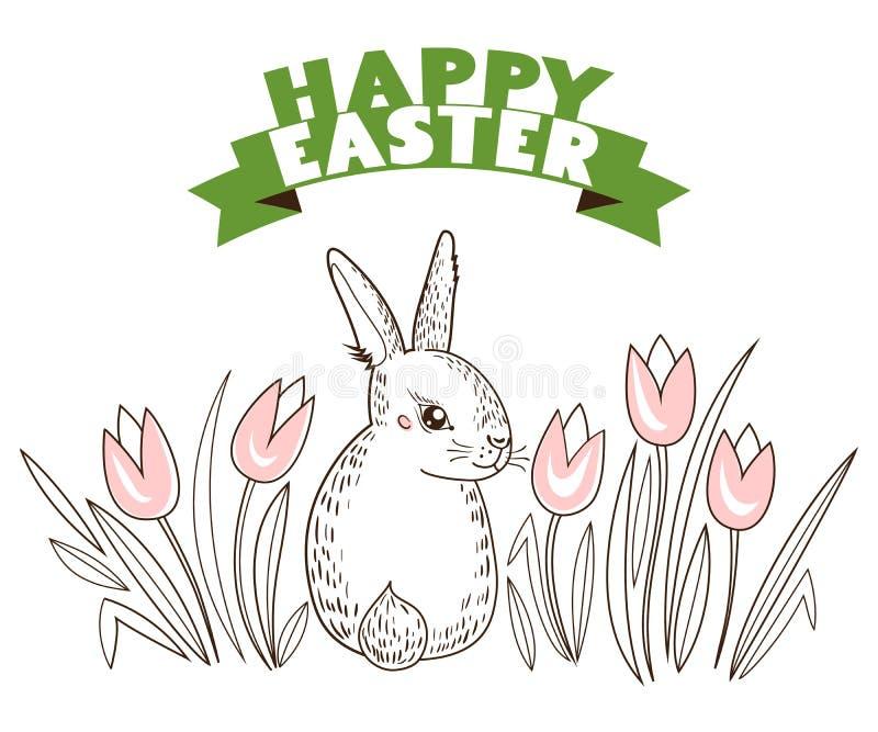 贺卡用用白色复活节兔子和郁金香,花 滑稽的兔宝宝 皇族释放例证
