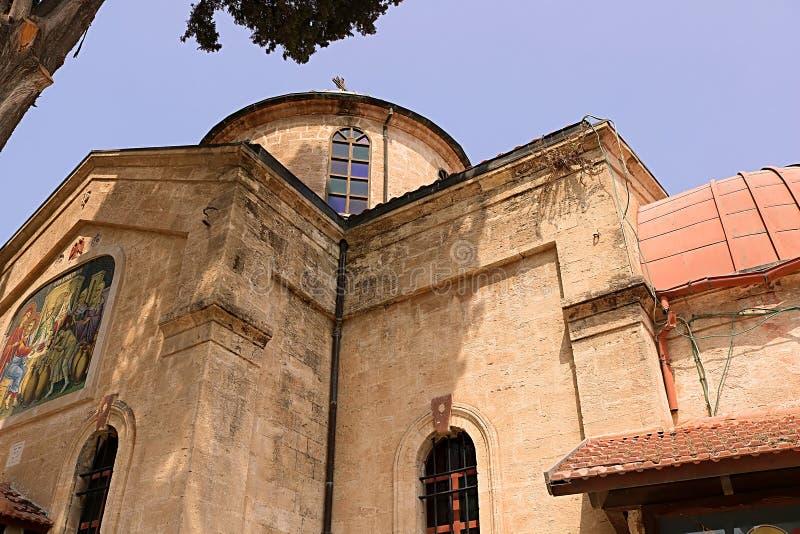 卡纳东正教婚姻的教会在内盖夫加利利,Kfar Kana的卡纳 库存照片