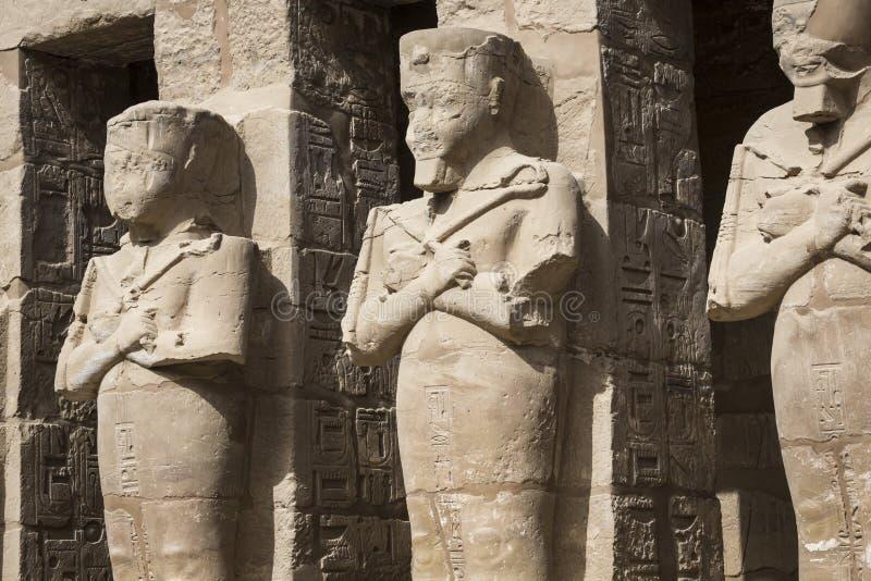 卡纳克神庙寺庙古老废墟在卢克索 埃及 免版税库存图片