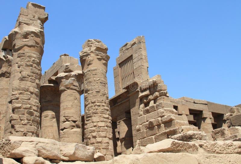 卡纳克神庙寺庙古老废墟 免版税库存照片