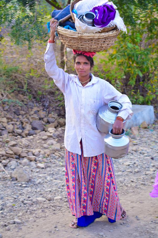 卡纳塔克邦的印度部落妇女 库存照片