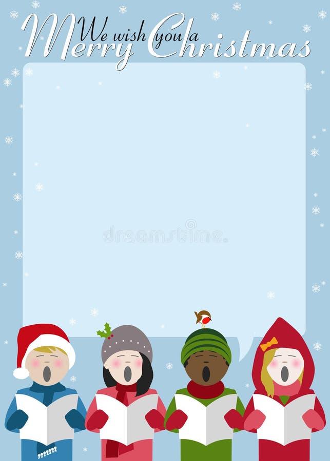 卡罗尔唱歌圣诞快乐海报 库存例证