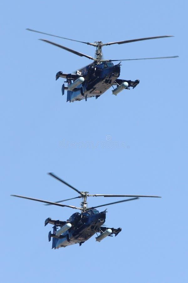卡莫夫钾50俄语空军队攻击用直升机在胜利天期间游行 库存图片