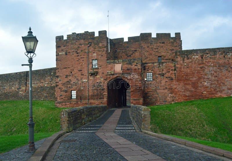 卡莱尔城堡入口,坎布里亚郡,英国 库存照片