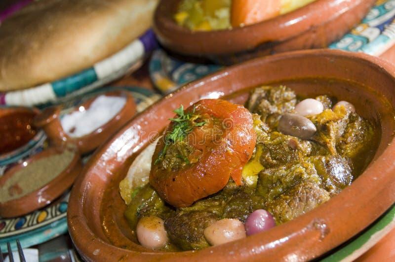 卡萨布兰卡正餐羊羔摩洛哥tagine 免版税库存照片