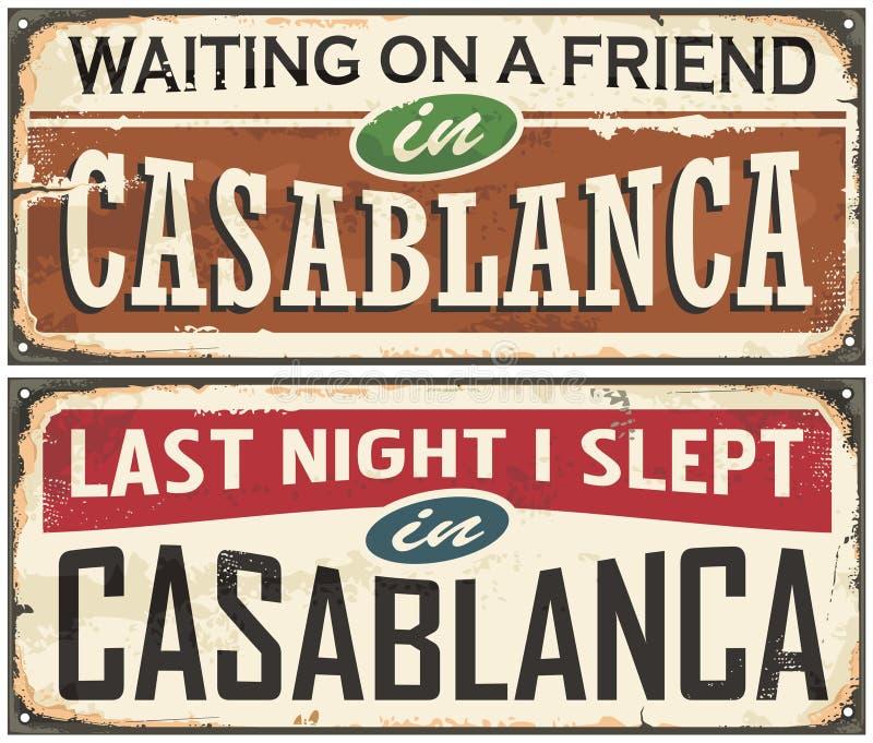 卡萨布兰卡葡萄酒罐子标志 向量例证