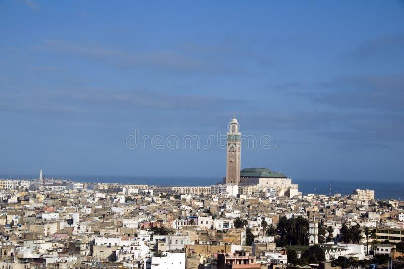 卡萨布兰卡都市风景哈桑ii摩洛哥清真 免版税库存图片