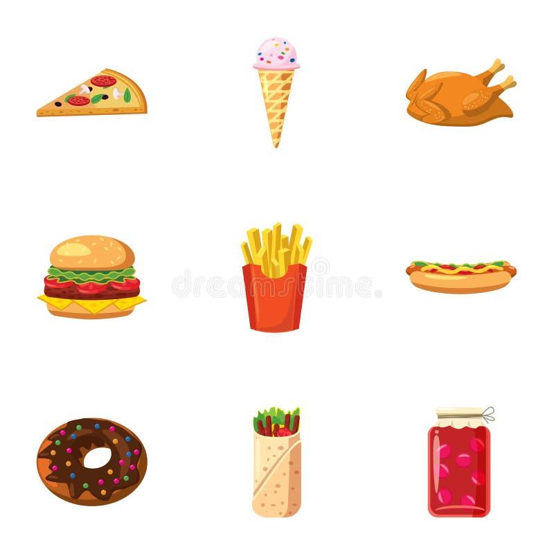 卡路里被设置的食物象,动画片样式 向量例证