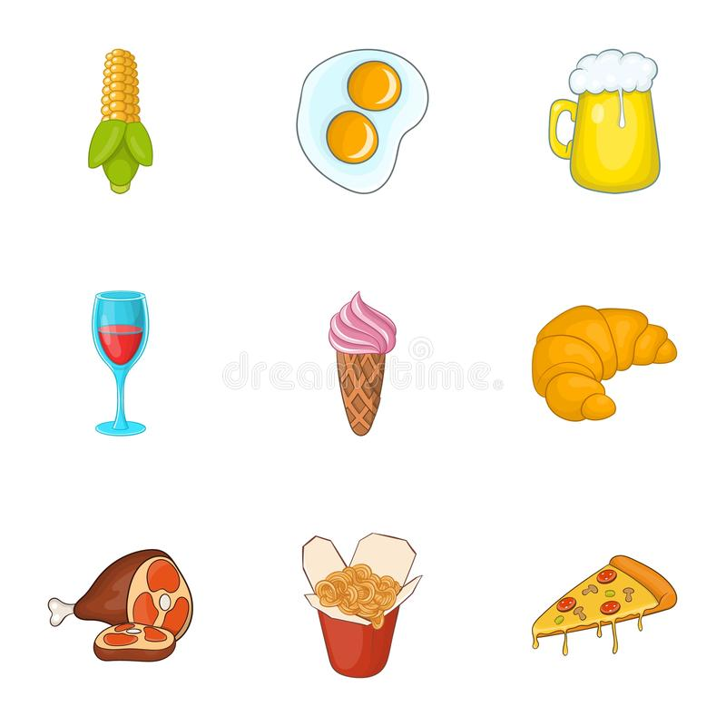 卡路里被设置的食物象,动画片样式 库存例证