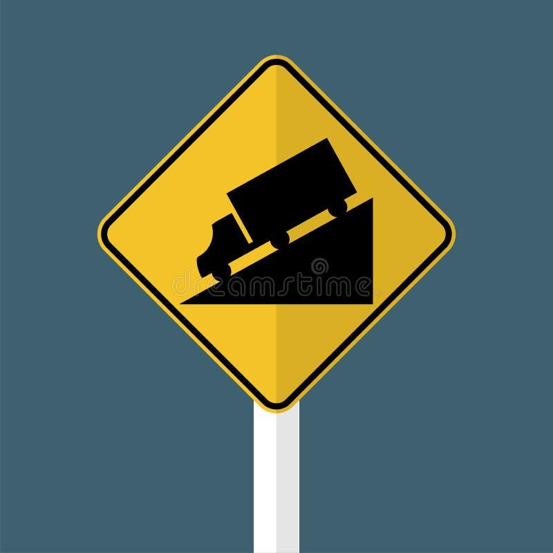 卡车下坡警报信号 向量例证