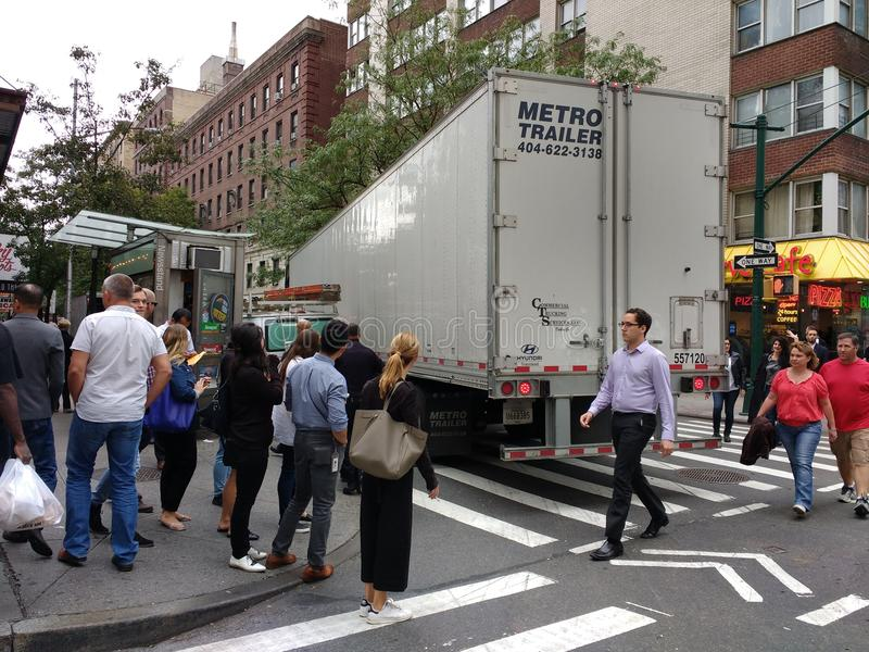 卡车事故,曼哈顿, NYC, NY,美国 免版税库存照片