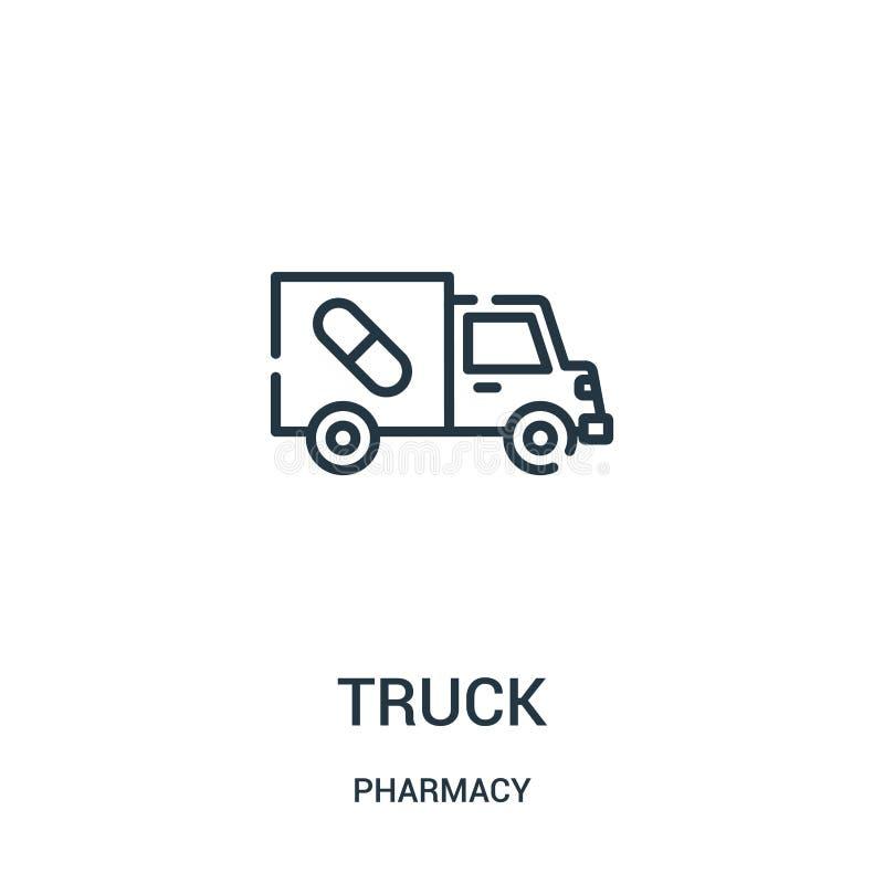 卡车从药房汇集的象传染媒介 稀薄的线卡车概述象传染媒介例证 库存例证