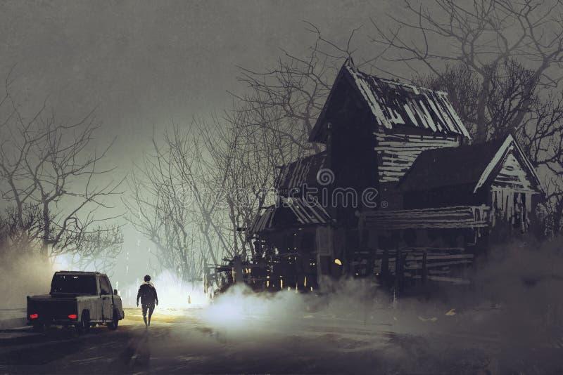 卡车司机和被放弃的被困扰的老房子 皇族释放例证