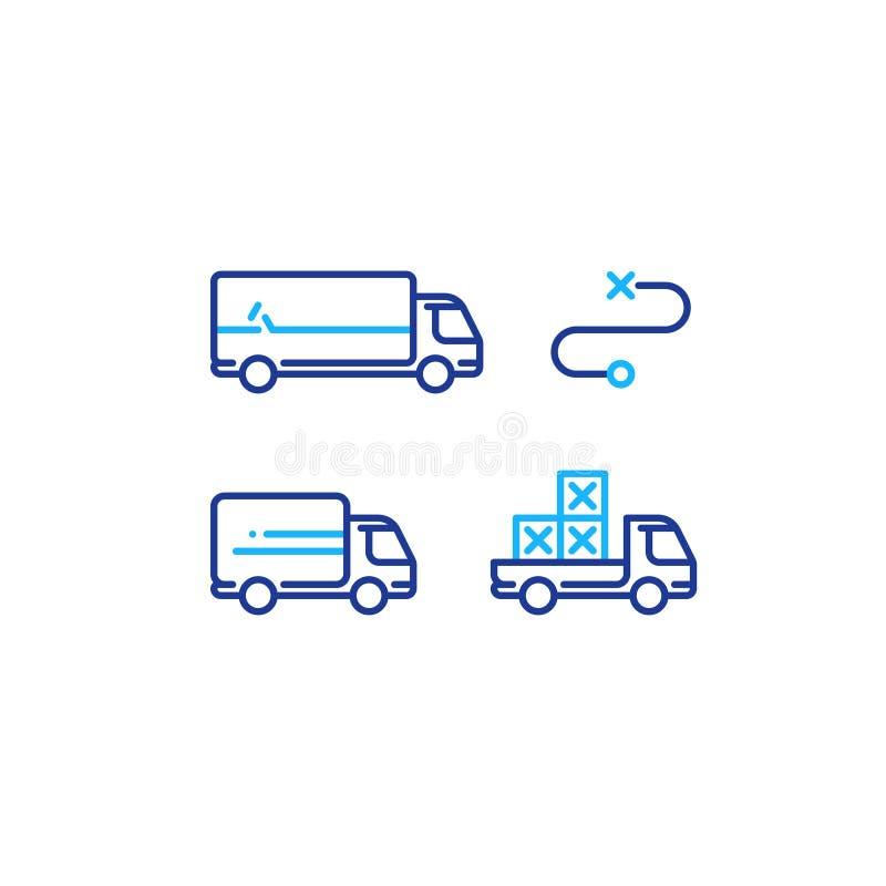 卡车和拾起卡车运输,送货业务,后勤学象 皇族释放例证