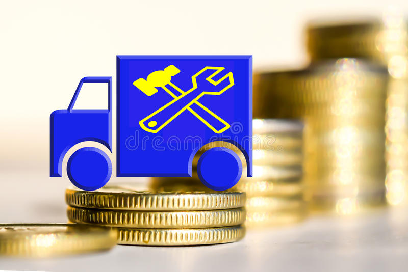 卡车和服务标志在金钱背景  免版税库存照片
