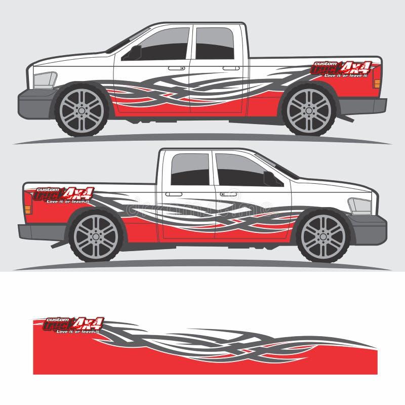 卡车和车标签图形设计 皇族释放例证