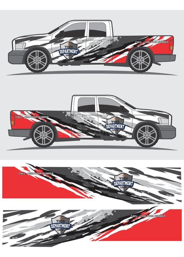 卡车和车标签图形设计 向量例证