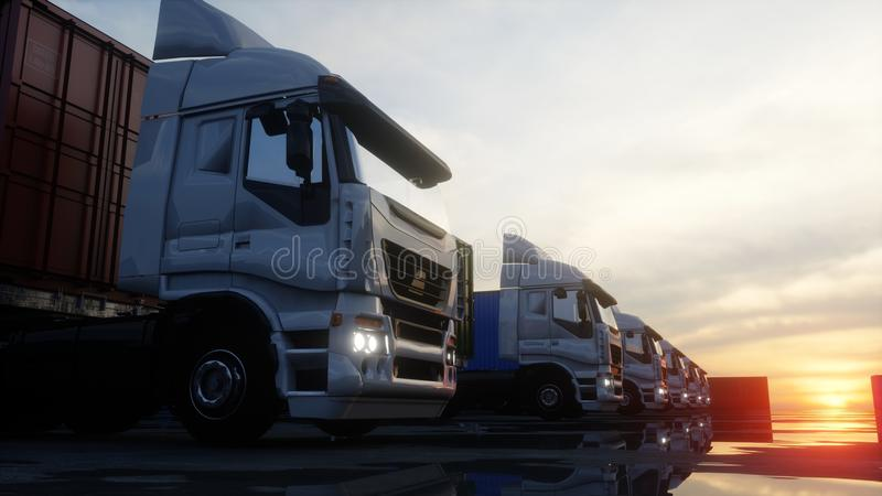 卡车在容器集中处, wharehouse,海口 3d被回报的货箱图象 后勤和企业概念 3d翻译 向量例证