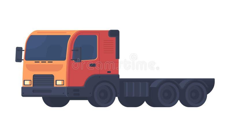 卡车汽车 运输各种各样的对象的重型卡车 导航在白色背景隔绝的平的样式例证 库存例证