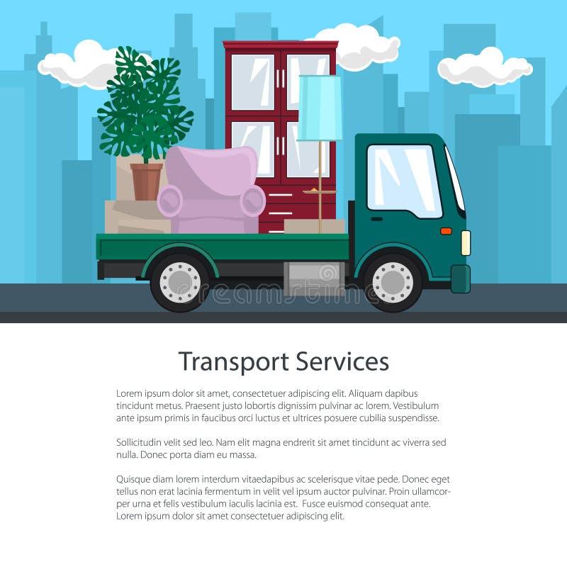 卡车海报有家具的在路 库存例证