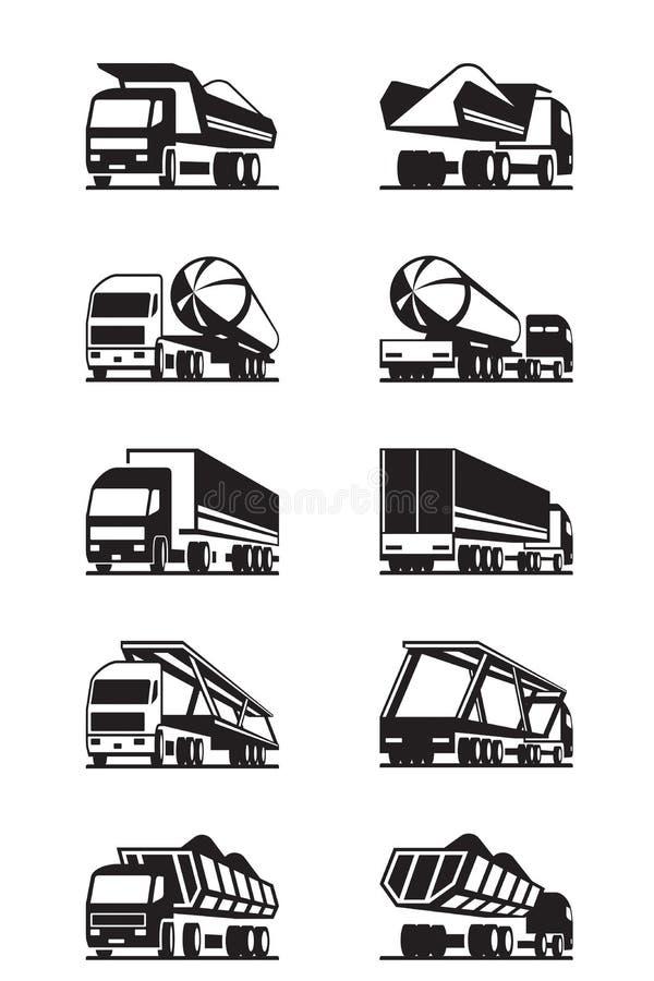 卡车的不同的类型有拖车的 向量例证