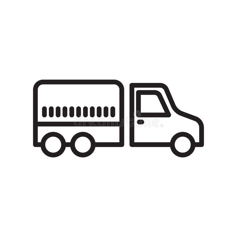 卡车象在白色背景和标志隔绝的传染媒介标志,卡车商标概念,概述标志,线性标志 皇族释放例证