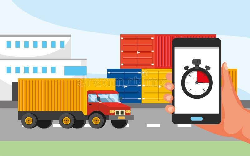卡车运输和手有gps地点和电话中心服务的 库存例证