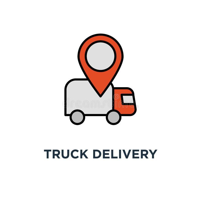 卡车送货服务象 快速的拆迁概念标志设计,运输公司元素,运输的顺序,发行 向量例证