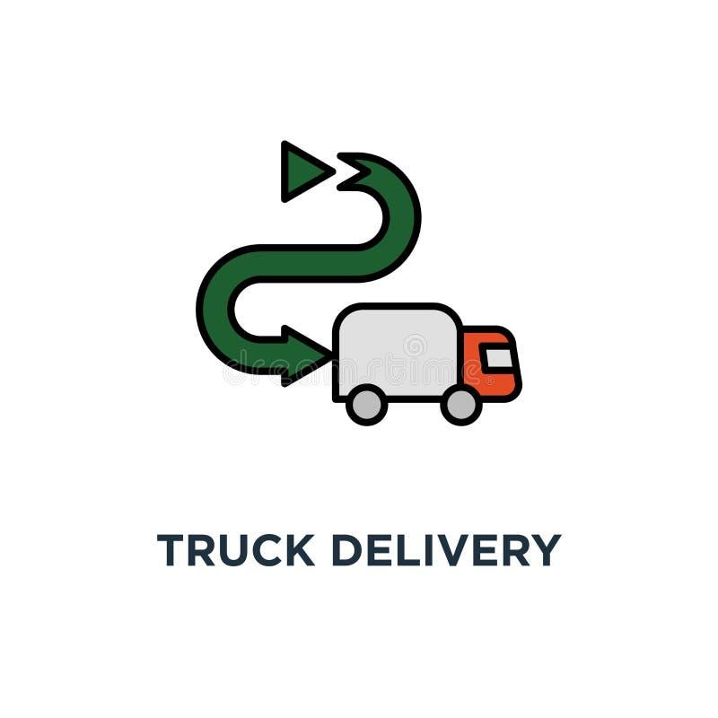 卡车送货服务象 快速的拆迁,跟踪小包概述概念标志设计,运输公司元素, 向量例证