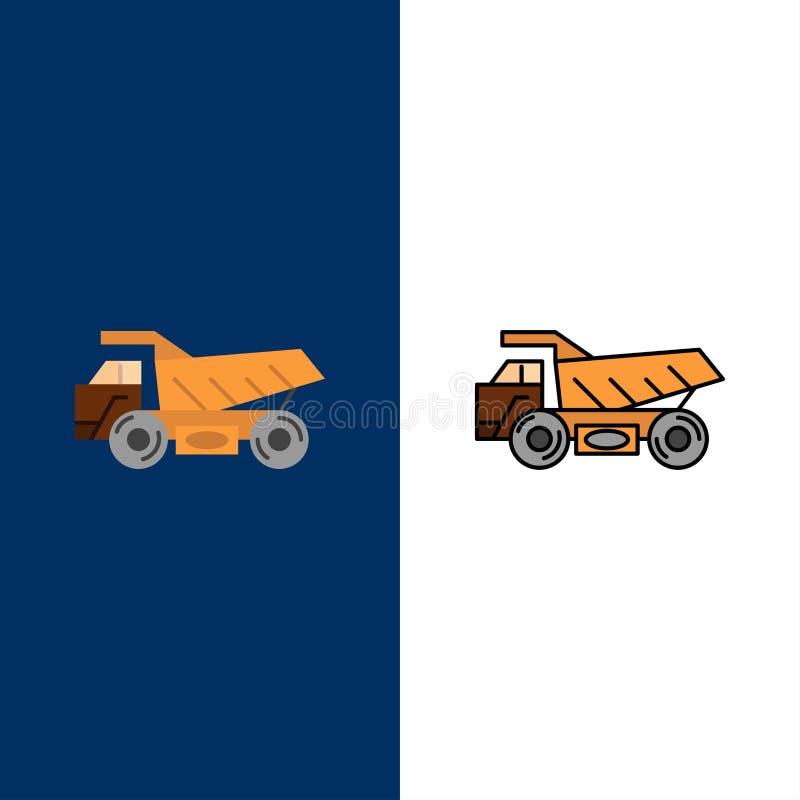 卡车,拖车,运输,建筑象 舱内甲板和线被填装的象设置了传染媒介蓝色背景 向量例证