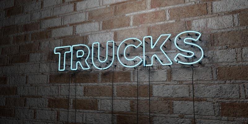 卡车-在石制品墙壁上的发光的霓虹灯广告- 3D回报了皇族自由储蓄例证 向量例证