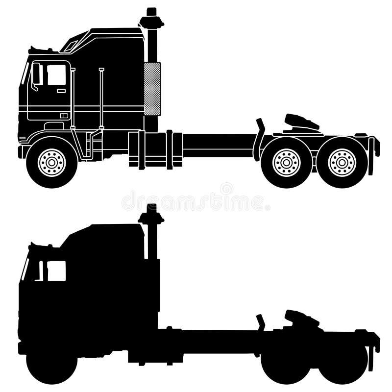 卡车Kenworth飞升航空器的剪影 向量例证