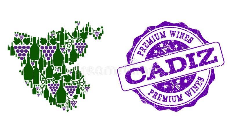 卡迪士省葡萄酒瓶地图拼贴画和优质酒盖印 向量例证