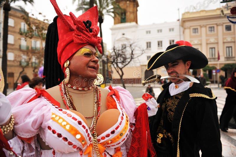 卡迪士,安大路西亚,西班牙Carnaval  库存照片