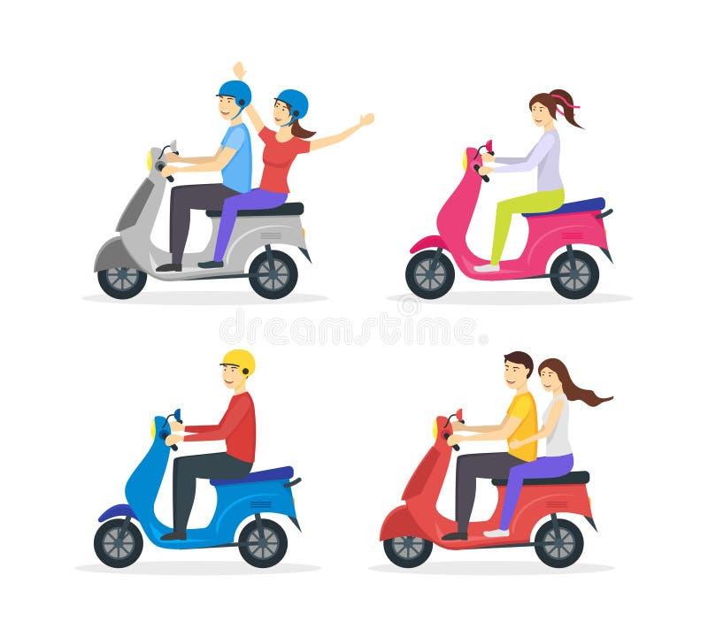卡通人物人乘坐的摩托车集合 向量 皇族释放例证