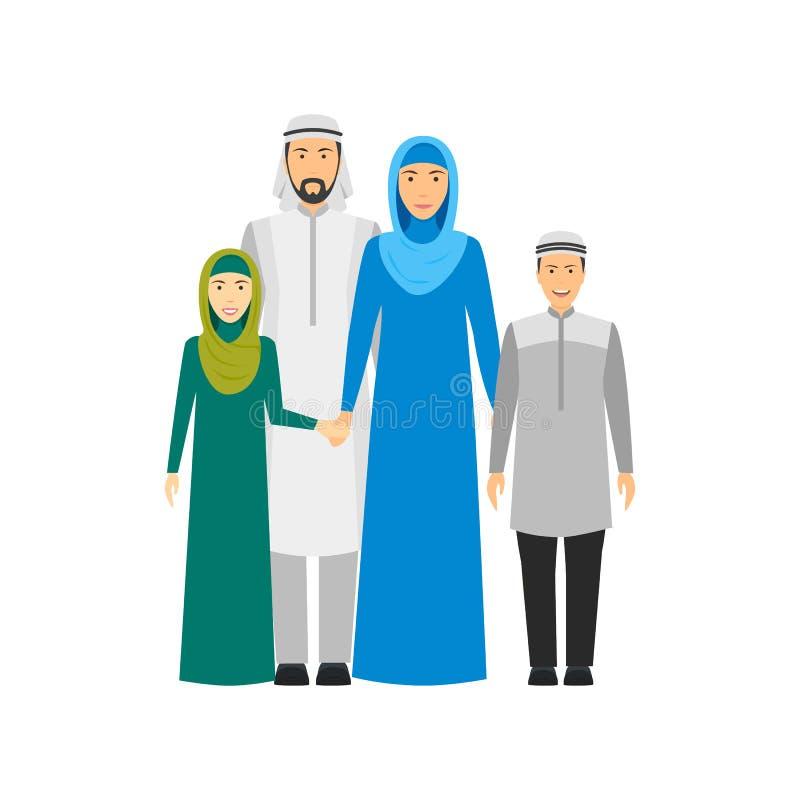 卡通人物人阿拉伯全国家庭 ?? 向量例证