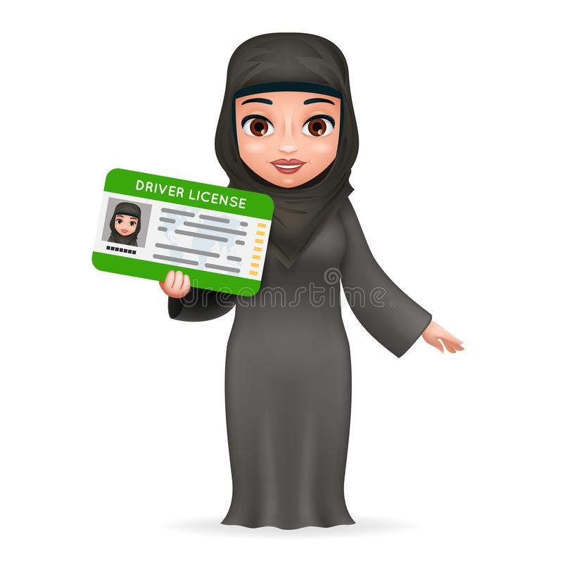 卡通人物女性阿拉伯汽车驾照妇女传统全国回教衣裳减速火箭的3d设计传染媒介 皇族释放例证