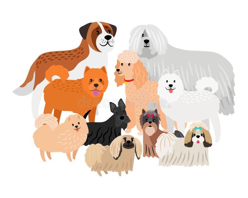 卡通人物loing的头发大和小狗 在白色背景隔绝的传染媒介宠物 皇族释放例证